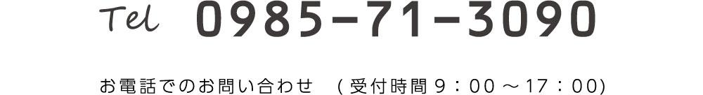 tel 0985-71-3090 お電話でのお問い合わせ(受付時間9:00-17:00)